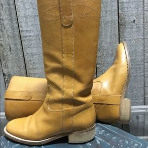 J Crew tan leather tall boots! Size 6